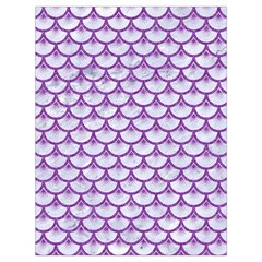Scales3 White Marble & Purple Denim (r) Drawstring Bag (large)