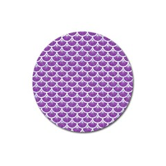 Scales3 White Marble & Purple Denim Magnet 3  (round)