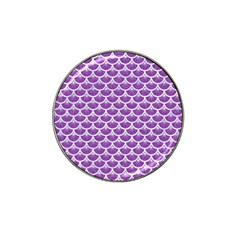 Scales3 White Marble & Purple Denim Hat Clip Ball Marker (10 Pack)