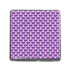 Scales3 White Marble & Purple Denim Memory Card Reader (square)