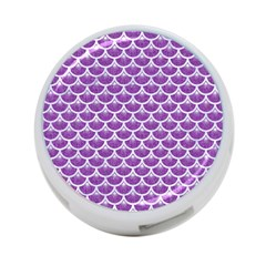 Scales3 White Marble & Purple Denim 4 Port Usb Hub (two Sides)