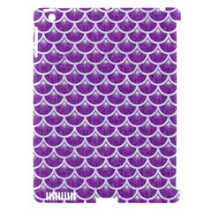 Scales3 White Marble & Purple Denim Apple Ipad 3/4 Hardshell Case (compatible With Smart Cover)