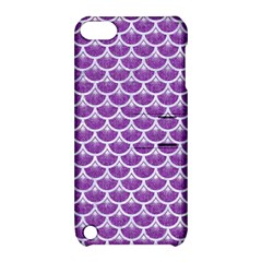 Scales3 White Marble & Purple Denim Apple Ipod Touch 5 Hardshell Case With Stand