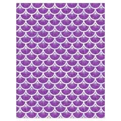 Scales3 White Marble & Purple Denim Drawstring Bag (large)