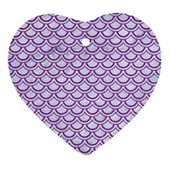 Scales2 White Marble & Purple Denim (r) Ornament (heart) by trendistuff