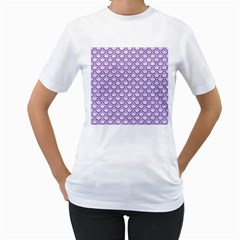 Scales2 White Marble & Purple Denim (r) Women s T Shirt (white) (two Sided)