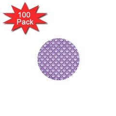 Scales2 White Marble & Purple Denim (r) 1  Mini Buttons (100 Pack)