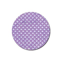 Scales2 White Marble & Purple Denim (r) Rubber Round Coaster (4 Pack)