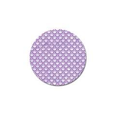 Scales2 White Marble & Purple Denim (r) Golf Ball Marker (4 Pack)
