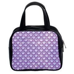 Scales2 White Marble & Purple Denim (r) Classic Handbags (2 Sides)