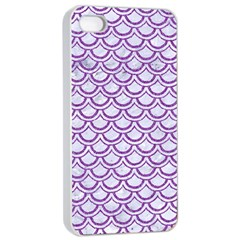 Scales2 White Marble & Purple Denim (r) Apple Iphone 4/4s Seamless Case (white)