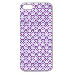 Scales2 White Marble & Purple Denim (r) Apple Seamless Iphone 5 Case (clear)