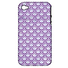 Scales2 White Marble & Purple Denim (r) Apple Iphone 4/4s Hardshell Case (pc+silicone)