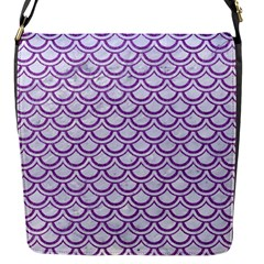 Scales2 White Marble & Purple Denim (r) Flap Messenger Bag (s)