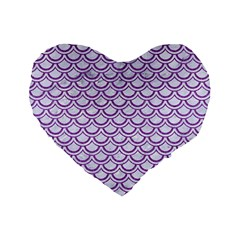 Scales2 White Marble & Purple Denim (r) Standard 16  Premium Flano Heart Shape Cushions