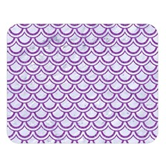 Scales2 White Marble & Purple Denim (r) Double Sided Flano Blanket (large)