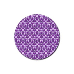 Scales2 White Marble & Purple Denim Rubber Round Coaster (4 Pack)