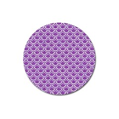 Scales2 White Marble & Purple Denim Magnet 3  (round)
