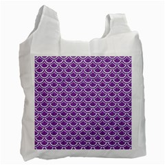 Scales2 White Marble & Purple Denim Recycle Bag (one Side)