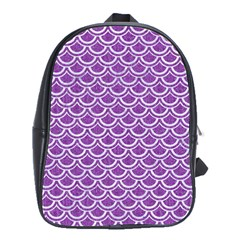 Scales2 White Marble & Purple Denim School Bag (large)