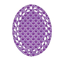 Scales2 White Marble & Purple Denim Ornament (oval Filigree)