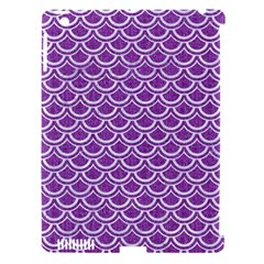 Scales2 White Marble & Purple Denim Apple Ipad 3/4 Hardshell Case (compatible With Smart Cover)