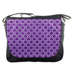 Scales2 White Marble & Purple Denim Messenger Bags