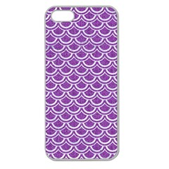 Scales2 White Marble & Purple Denim Apple Seamless Iphone 5 Case (clear)