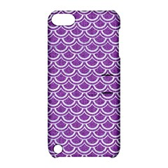 Scales2 White Marble & Purple Denim Apple Ipod Touch 5 Hardshell Case With Stand