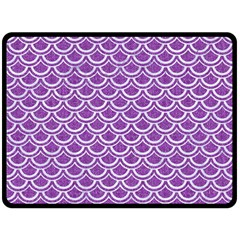 Scales2 White Marble & Purple Denim Double Sided Fleece Blanket (large)
