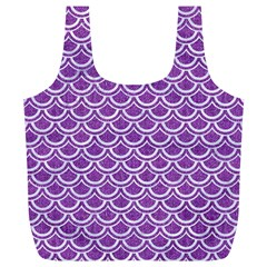 Scales2 White Marble & Purple Denim Full Print Recycle Bags (l)