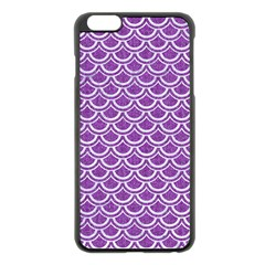 Scales2 White Marble & Purple Denim Apple Iphone 6 Plus/6s Plus Black Enamel Case