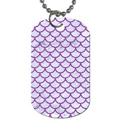 Scales1 White Marble & Purple Denim (r) Dog Tag (two Sides) by trendistuff