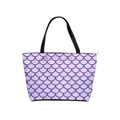 Scales1 White Marble & Purple Denim (r) Shoulder Handbags