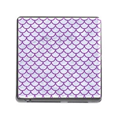 Scales1 White Marble & Purple Denim (r) Memory Card Reader (square)