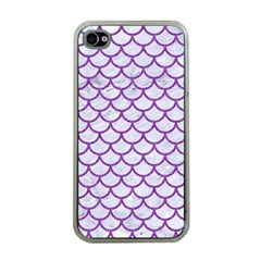 Scales1 White Marble & Purple Denim (r) Apple Iphone 4 Case (clear)