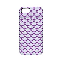 Scales1 White Marble & Purple Denim (r) Apple Iphone 5 Classic Hardshell Case (pc+silicone)