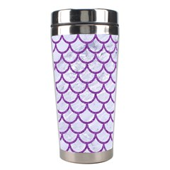 Scales1 White Marble & Purple Denim (r) Stainless Steel Travel Tumblers