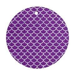 Scales1 White Marble & Purple Denim Ornament (round)