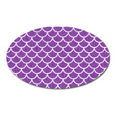 Scales1 White Marble & Purple Denim Oval Magnet