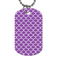 Scales1 White Marble & Purple Denim Dog Tag (one Side)