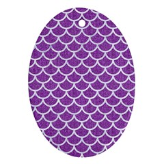 Scales1 White Marble & Purple Denim Oval Ornament (two Sides)