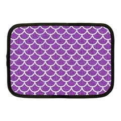 Scales1 White Marble & Purple Denim Netbook Case (medium)