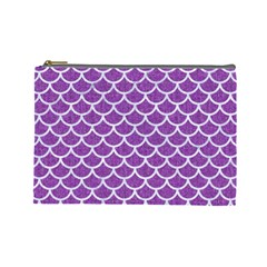 Scales1 White Marble & Purple Denim Cosmetic Bag (large)