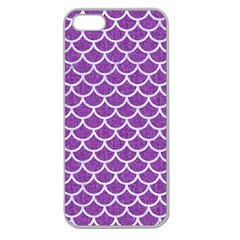 Scales1 White Marble & Purple Denim Apple Seamless Iphone 5 Case (clear)