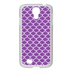 Scales1 White Marble & Purple Denim Samsung Galaxy S4 I9500/ I9505 Case (white)