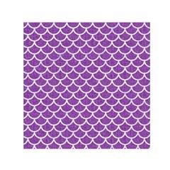 Scales1 White Marble & Purple Denim Small Satin Scarf (square)