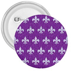 Royal1 White Marble & Purple Denim (r) 3  Buttons