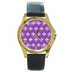 Royal1 White Marble & Purple Denim (r) Round Gold Metal Watch by trendistuff