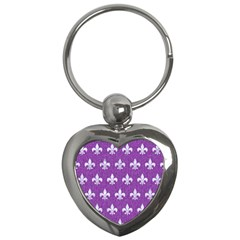 Royal1 White Marble & Purple Denim (r) Key Chains (heart)
